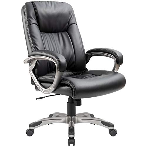 Furmax High Back Big and Tall Office Chair Exectuive Chair,Adjustable Managerial Desk Chair,Swivel Computer PU Leather Chair(Black)