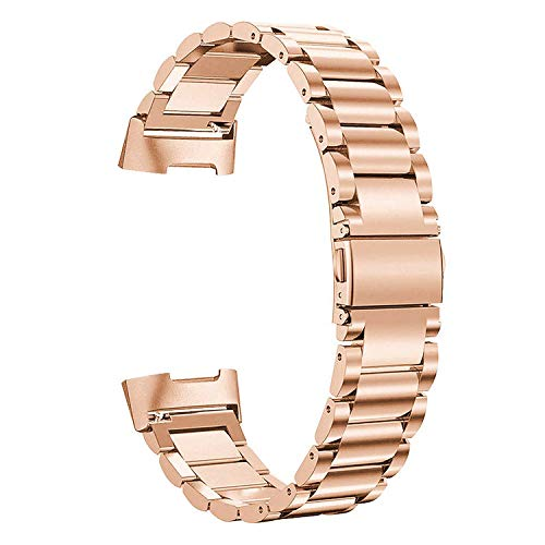 SWEES Metal Bands Compatible Fitbit Charge 3 & Charge 3 SE Bands,Premium Stainless Steel Metal Replacement Bands Strap Wristband for Women Men, Small Large, Rose Gold
