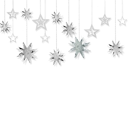 Aonor Glitter Twinkle Star Hanging Garland - Sparkly Paper Five-Pointed Bunting Banner for Wedding, Kids Room Decoration, Birthday Party, Baby Shower, Silver, 13 pcs