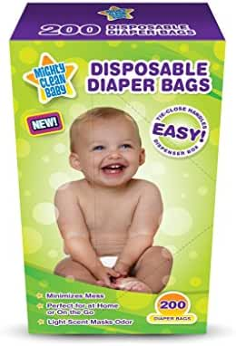 Mighty Clean Baby Disposable Diaper Bags, 200 count