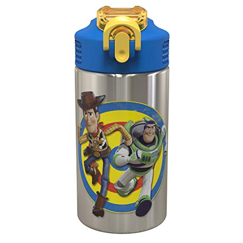 - Zak Designs Toy Story 4 - Stainless Steel Water Bottle with One Hand Operation Action Lid and Built-in Carrying Loop, Water Bottle with Straw is Perfect for Kids (Buzz & Woody, 15.5 oz,18/8,BPA Free)