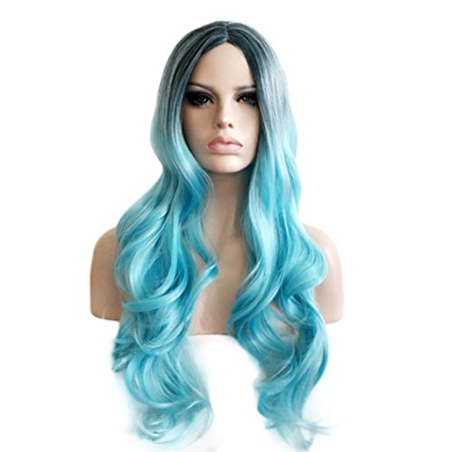 Rise World Wig 75cm Long Dark Roots Black to Light Blue Curly Ombre Wavy Wig (Curly Blue Wig)
