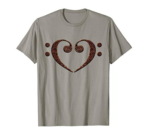 Double Bass Clef Heart Rust Black Music Notes Bassist T-Shirt
