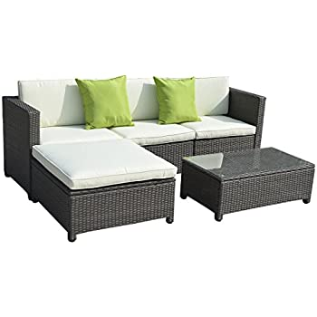 Superieur Goplus5PC Outdoor Patio Sofa Set Furniture PE Wicker Rattan Deck Couch  Gradient Brown