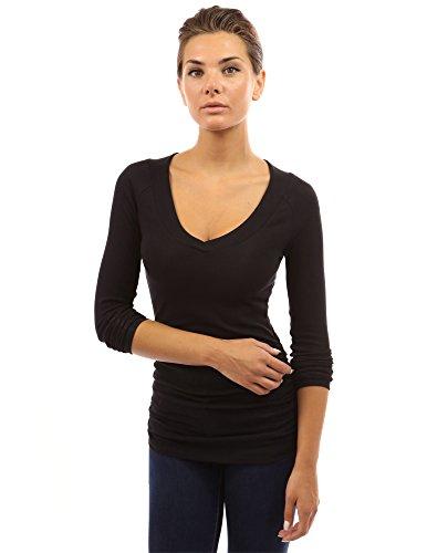 PattyBoutik Women's Raglan V Neck Ruched Sides Top (Black (Ruched Knit Top)