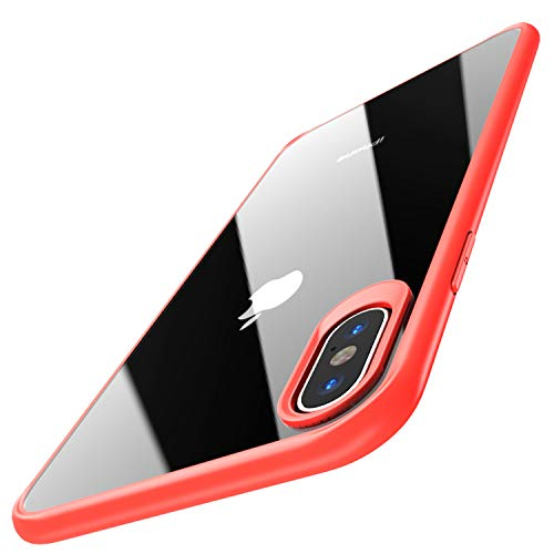 (TOZO for iPhone Xs Max Case 6.5 Inch (2018) Hybrid Soft Grip Matte Finish Clear Back Panel Ultra-Thin [Slim Thin Fit] Cover for iPhone Xs Max with [Red)