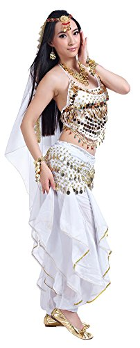 Dance Two Piece Costumes (AvaCostume Lady Indian Dance Performance Costume Bra Pants 2 Pieces White)