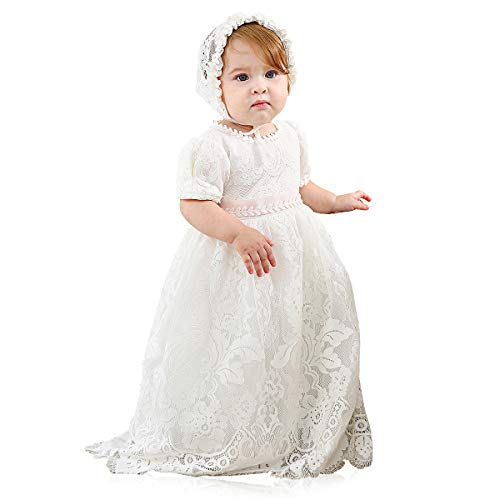 Slowera Baby Girls White Lace Dress Christening Baptism Gowns and Bonnet (Style3, 16-20 Months)