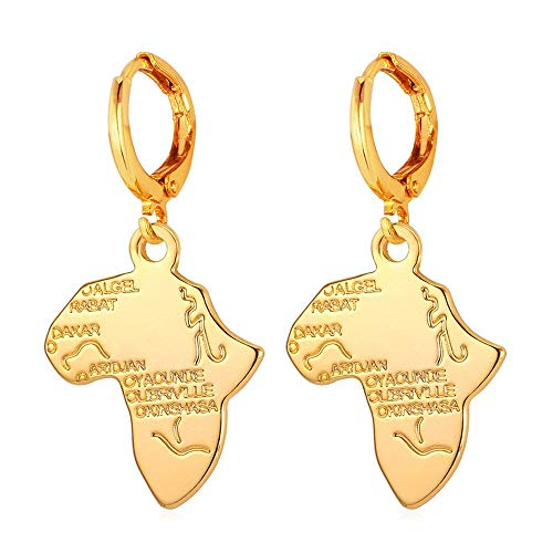 Fashion Women 20K Gold Plated Africa Map Hoop Earrings For Girls (Hoop) ()