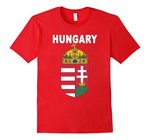 Men's Hungary National Coat of Arms T-shirt - Hungarian Team Tee Medium Red (Jersey T-shirt Coat)