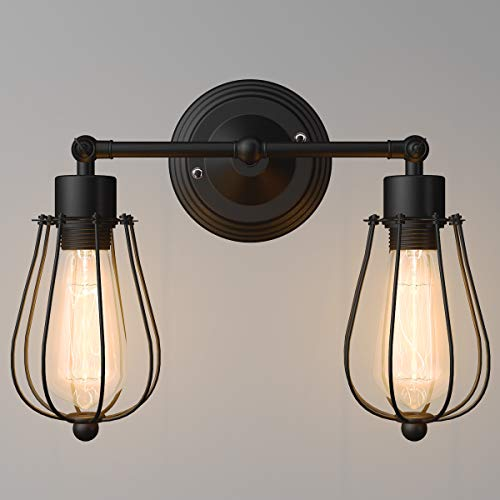 Tangkula Wall Sconce Wall Light Fixture Black Matal Industrial Vintage Rustic Retro Style Indoor Outdoor Wall Lamp Bar Loft Wire Cage with Bulb (2-Light) (Kitchen Sink Light Wall Mount)