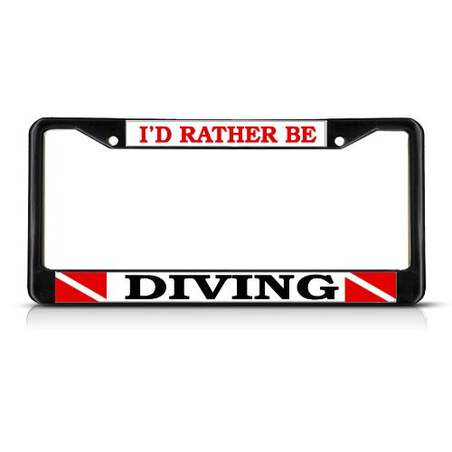 Fastasticdeals I'd Rather BE Scuba Diving Black Heavy Duty Metal License Plate Frame