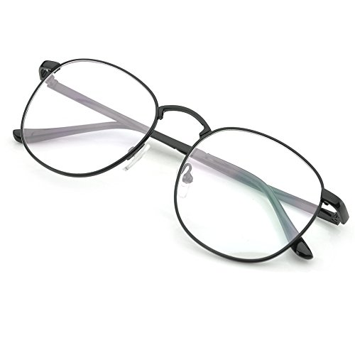 26a6fdfa0f1 Amazon.com  PenSee Oversized Circle Metal Eyeglasses Frame Inspired Horned  Rim Clear Lens Glasses (Black)  Clothing