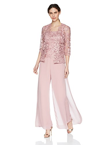 Emma Street Women's Lace Jacket Camisold and Chiffon Pant Set, Rose, 18
