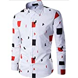 Han Shi Mens Shirt, Slim Fit Casual Long Sleeve Business Print Blouse Tank Tops Chemise (M, White)