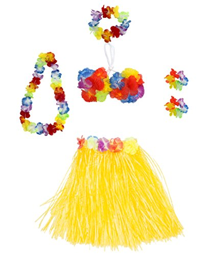 Luau Party Dress Ideas (6 Pieces Girl's Hawaiian Hula Skirt fedio Grass Skirt set with Hawaiian Luau Party leis and Bra for Children Ages 3-8(Yellow))