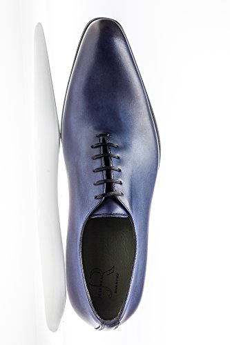 Jose Real Shoes Basoto Collection | slavato Cuoio | Mens Oxford Brown Genuine Real Italian Baby Calf Leather Dress Shoe Blue uNvUbH