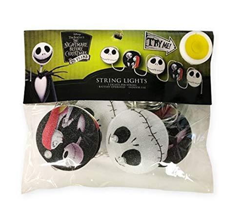 NBC Tim Burton's The Nightmare Before Christmas Jack and Sally Deluxe 5-Count String Lights]()