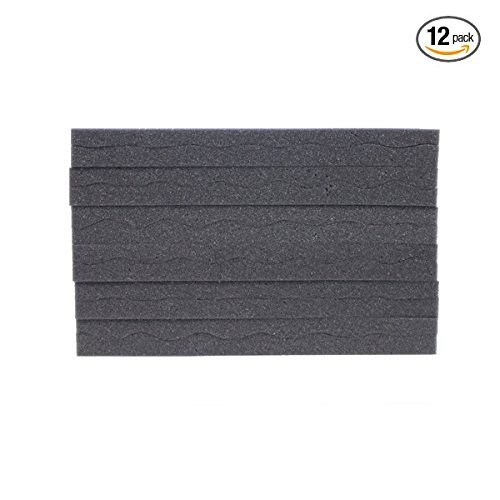 12 Pack Charcoal Slim Convoluted Egg crate Acoustic Foam Padding - Enhance Sound Quality by Absorbing Noise and Echoes