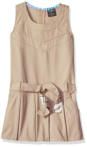Eddie Bauer Girls' Dress Jumper (More Styles Available), Warm Khaki, 7 by Eddie Bauer