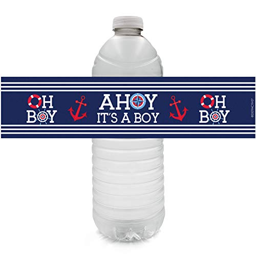 Ahoy It's a Boy Baby Shower Water Bottle Labels | 24 Stickers ()