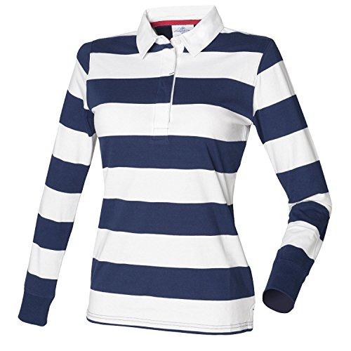 Front Row Polo de rugby pour femme Motif rayé fr111Bleu marine/blanc m