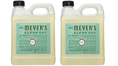 Hand Basil Soap (Mrs. Meyer's Liquid Hand Soap Refill, Basil, 33 Fluid Ounce Pack of 2)