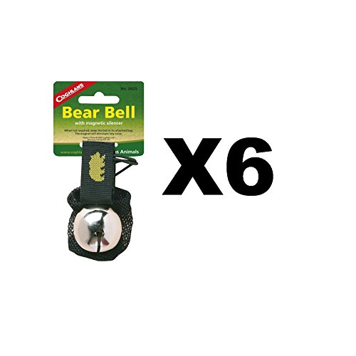 Coghlan's Bear Bell w/Magnetic Silencer Bag & Loop Strap Warns Animals (6-Pack) by Coghlan's
