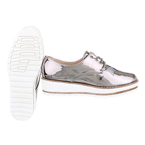 Ital-Design - Zapatos Planos con Cordones Mujer gris plateado
