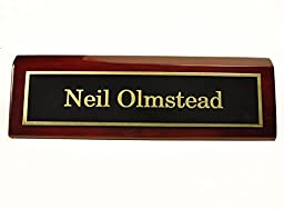 2 X 8 Rosewood Piano Finish Desk Name Plate - Black Plate, Gold Engraving - Free Engraving