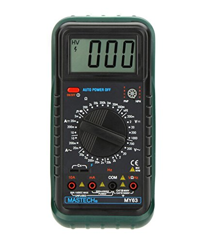 MASTECH MY63 Handheld Digital Multimeter DMM w/Capacitance Frequency & hFE (Dmm Digital Multimeter)