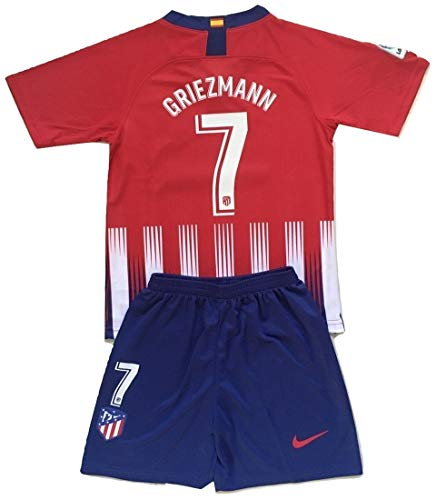 (Anelia-Jerseys Griezmann #7 Atletico Madrid 2018-2019 Youths Home Jersey & Shorts Set (7-8 Years Old))