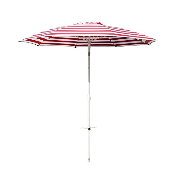 """Le Papillon 7 ft Outdoor Patio Beach Umbrella Sun Shelter with Sand Anchor, Red and White Stripe - Air-vented 7ft dia. canopy designed to facilitate air flow for more stability. The canopy structure is supported by 8 fiberglass ribs 180D polyester fabric, 1.1"""" dia. rust-free powder coated steel upper pole, 1.38"""" dia. rust-free powder coated steel lower pole, 0.24"""" dia. fiberglass rib Telescoping steel pole with tilt option, allowing for easy adjusting to the moving sun - shades-parasols, patio-furniture, patio - 41sx8jJuBqL. SS570  -"""
