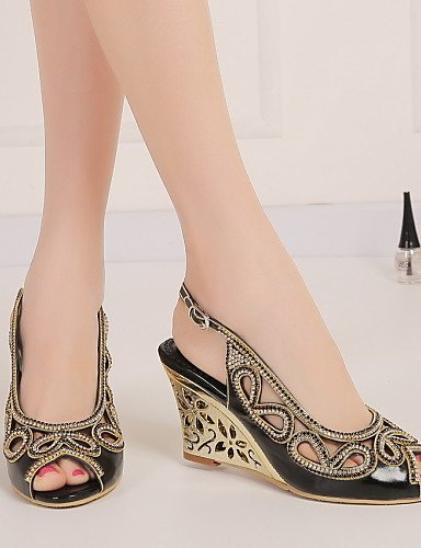 ShangYi Womens Shoes Leather Wedge Heel Wedges / Peep Toe Sandals Party & Evening / Dress / Casual Black / Purple / Gold Black