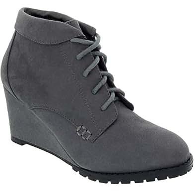 Sugar Women's Kennie Wedge Bootie with Buckle Ankle Boot 6 Grey
