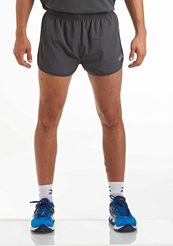 time to run Men's Pace Spirit Quick Dry Running/Gym/Athletic/Training/Workout/Jogging Shorts with Rear Zip Pocket and Inner Lining Large Charcoal