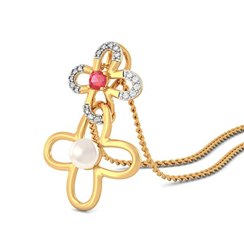 Or jaune 18K 0.11CT TW Round-cut-diamond (IJ | SI) et rubis et blanc perle Pendentif
