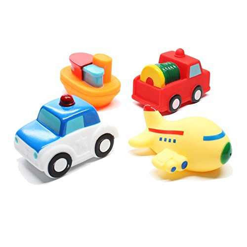 Storrianne Bath Toy Toddler Bathtub Toys - 4 Packs Baby Floating Squirts Toy Bathroom Pool Bathtime Toys Vehicle Toys for Kids Girls Boys with Boat Plice Car Fire Truck and Airplane Rubber Toys