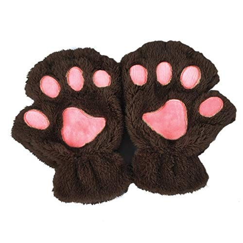Susie-Smile - Winter Women Cute Cat Paw Claw Plush Mittens Short Fingerless Finger Half Gloves Cycling Gloves