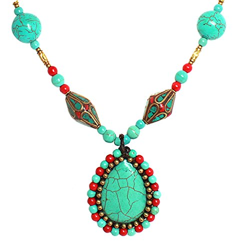 Bijoux De Ja Simulated Turquoise Howlite Teardrop Antique Bead Pendant Necklace 26 - Lakes Outlets Beach Palm