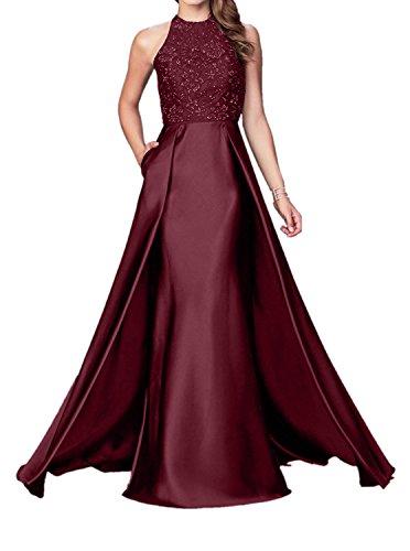 Braut Meerjungfrau Satin La Abendkleider mit mia Figurbetont Burgundy Elegant Schleppe Ballkleider Brautmutterkleider 5ttwqC