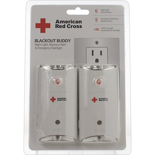 2 Pcs Eton American Red Cross Blackout Buddy LED Rechargeable Battery & Flashlight Emergency Handout Lighting Automatically Turns On In Power Outages Night-Light In Normal Status Emergency Notification In Blackout Status Emergency Handheld Flashlight Three LED Flashlight And One LED Night-Light 100% Charged And No Batteries Required