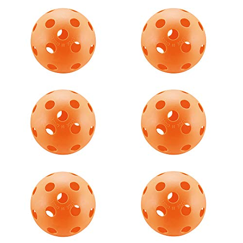 A&L Pickleball Balls, New Concept True Flight Design 26 Hole Pickleball Balls Set of 6, for Indoor (6 Pack) (Orange)
