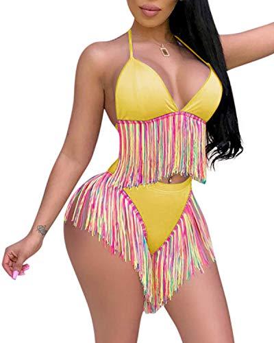 (SHANUOINT Women's Colorful Tassel Swimsuit Ladies Vintage Sexy High Waist 2 Piece Bikini Sets (S, Yellow) )