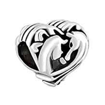 Best Friends Forever Charms Filigree Heart Couples Horse Silver Plated Bead Fit Pandora Bracelet