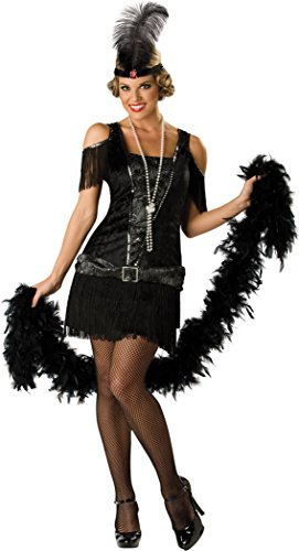 Black And Silver Sequin Flapper Costumes (InCharacter Costumes Women's Fabulous Flapper Costume, Black/Silver, Large)