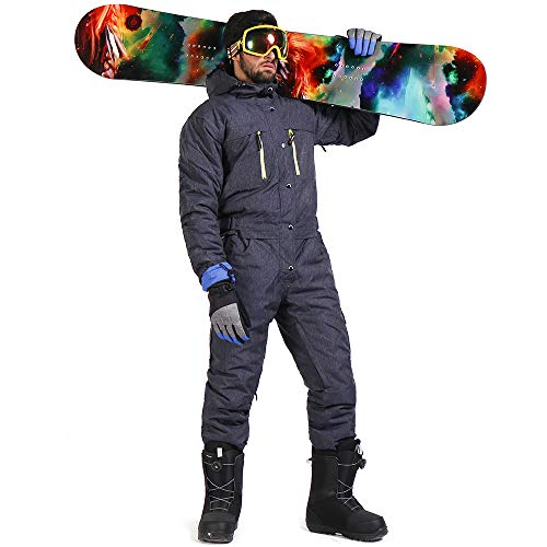 SAENSHING Men's Snow Ski Suit Windproof One-Piece Coverall Snowsuit M (One Piece Insulated Ski Suit)