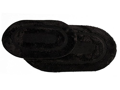 Sweet Home Collection Plush Polyester Microfiber Soft Bath Mat Rug, Set of 2, 17'' x 24''/20'' x 32'', Black