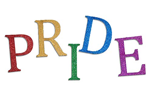 TCDesignerProducts Large Pride Letters Parade Float Kit, Five 36 Inch Tall Printed Letters, Red, Green, Gold, Royal Blue, Purple Glitter Flakes