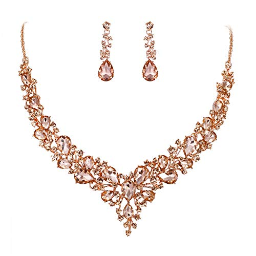 BriLove Wedding Bridal Necklace Earrings Jewelry Set for Women Austrian Crystal Teardrop Cluster Statement Necklace Dangle Earrings Set Peach Morganite Color Rose-Gold-Toned